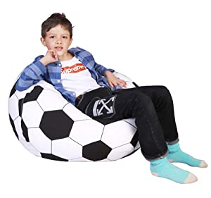 Lukeight Stuffed Animal Storage Bean Bag Chair, Bean Bag Cover for Organizing Kid's Room - Fits a Lot of Stuffed Animals, Large/Football Pattern