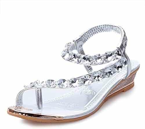 e98244f8c1cf Summer Casual Sandals Rhinestone Flats Platform Wedge Sandal Woman Open  Peep Toe Shoes