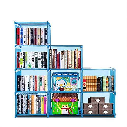 Adjustable Korean Style Home Furniture Book Storage Shelf Kids' 4 Tier 9 Shelves (Blue),Freestanding Sturdy Construction