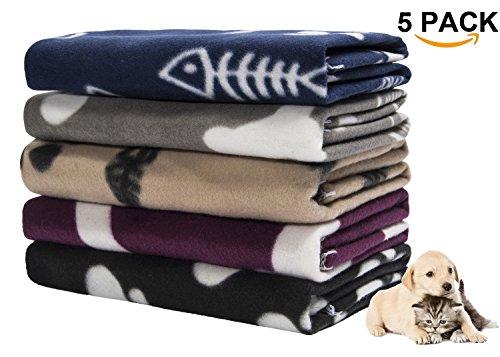 Ataya Pet Dog Blanket, 5 Pack Mixed Paw Print Cat Sleep Bed Cover Polar Fleece Throw,24