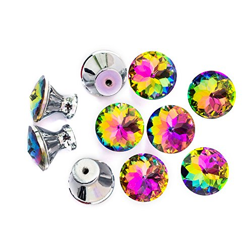 Spriak Diamond Shape Crystal Glass Cabinet Dresser Drawer Hardware Cupboard Wardrobe Knobs Door Pull Handle(10 Pcs/Package 30mm Rainbow Color) ()