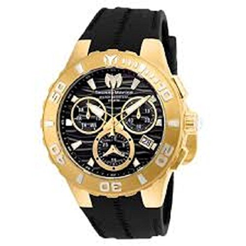 Technomarine Men's 'Cruise' Quartz Stainless Steel and Silicone Casual Watch, Color:Black (Model: TM-115076) (Steel Technomarine Chronograph Stainless New)