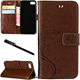 "iPhone 7 / iPhone 8 Case, Urvoix Card Holder Stand Smooth Hand Feel PU Leather Wallet Case - Embossed Flower Butterfly Flip Cover for 4.7"" Version iPhone7 / iPhone8(NOT for 7Plus / 8 Plus) Light Brown"