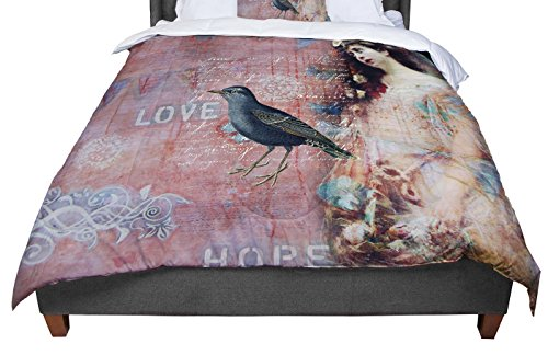KESS InHouse Suzanne Carter ''Faith Hope Love'' Pink Typography Queen Comforter, 88'' X 88'' by Kess InHouse