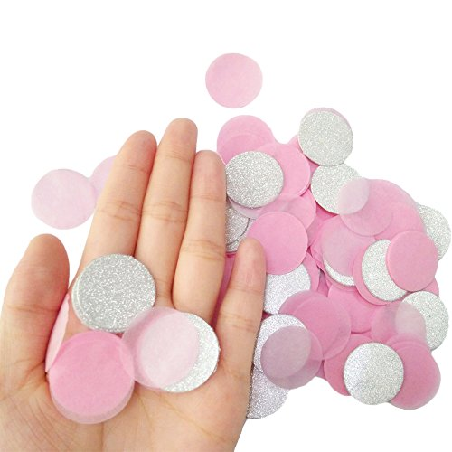 Festivous Wishel 4000 Pieces Pink Silver Paper Confetti,Table Confetti For Wedding Party,Baby - Pink And Silver