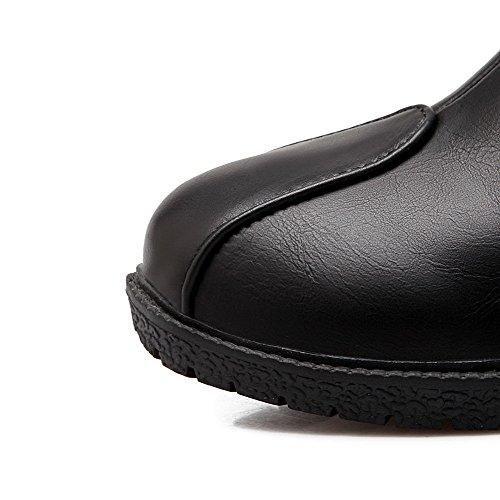 AllhqFashion Mujeres Puntera Redonda Mini Tacón Caña Baja Sólido Botas con Con tachuelas Negro