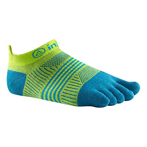761072931394 - Injinji Women's Run Lightweight No Show Coolmax Xtralife Socks (Neon Green Turquoise, Medium / Large) carousel main 1