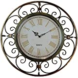 "Lulu Decor, Roman Sphere Metal Wall Clock, Diameter 20"", Perfect for Housewarming Gift."
