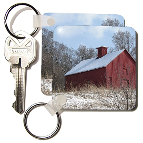 Beverly Turner Photography - Red Barn in the Winter - Key Chains - set of 2 Key Chains (kc_11582_1)