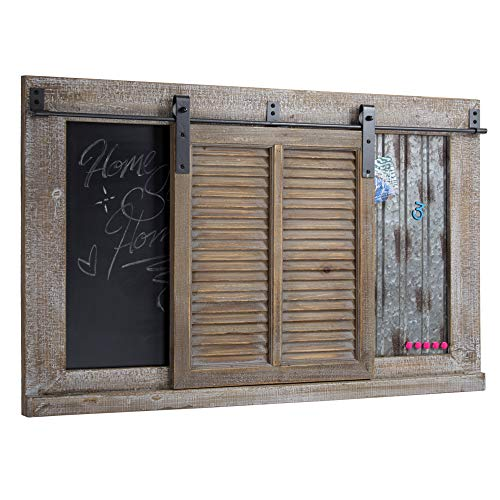 American Art Decor Rustic Wood and Metal Chalkboard Magnet Message and Memo Board ()