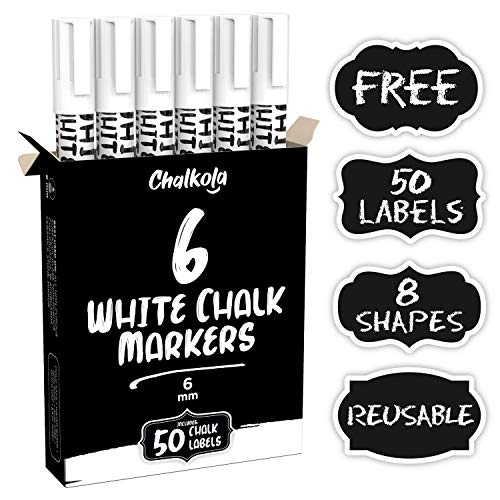 Liquid Chalk Marker Pen - White Dry Erase Chalk Markers for Chalkboard Signs, Windows, Blackboard, Glass - 6mm Reversible Tip (6 Pack) - 50 Chalkboard Labels Included