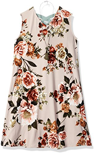 Amy Byer Girls' Big Everyday a-Line Dress with Necklace, Blush/Olive Roseland Bouquet, -