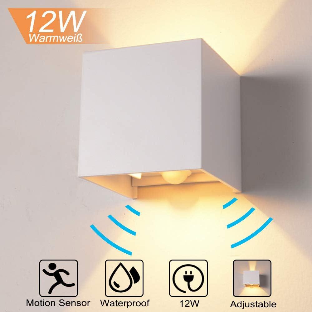QYHOME - Lámpara de pared de 12 W, con sensor de movimiento para exterior/interior, iluminación LED de pared, luz blanca cálida, resistente al agua, regulable, lámpara LED de pared, sensor para jardín,