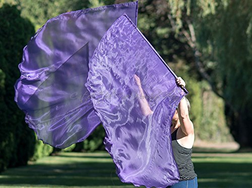 PURPLE Shimmer Angel Wing Catch the Fire Worship Flags (single layer pair) by Catch the Fire Worship Flags