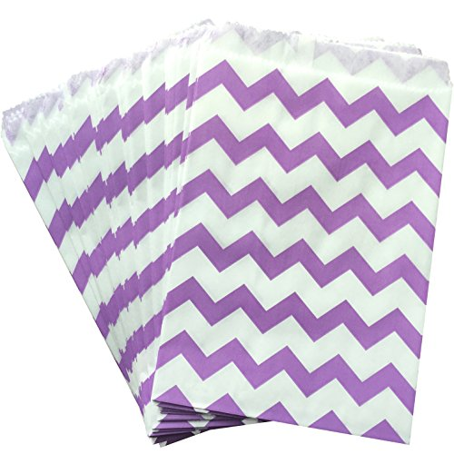 Outside the Box Papers Chevron Treat Sacks 5.5 x 7.5 48 Pack Lilac/Lavender, White