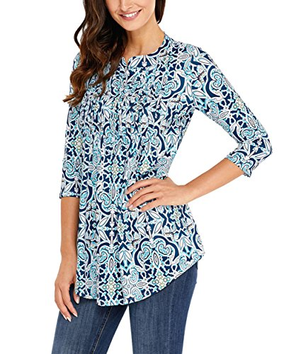 Button up Geometry Blouse S Sleeve Tunic Shirts 4 Casual 3 Floral XXL Printed Tops Womens MANDEKU Loose aqFP77