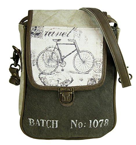 Bolso de compra hombre señora Sunsa Vintage Bolso de hombro bolso de mano hecho de tela / tela con cuero 51749