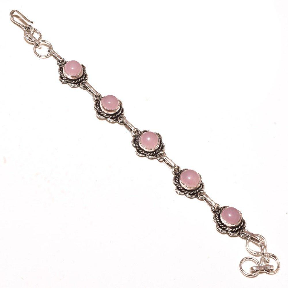 Pink Rose Quartz Sterling Silver Overlay 15 Grams Bracelet 7-9 Long Handmade Jewelry Gift Jewelry