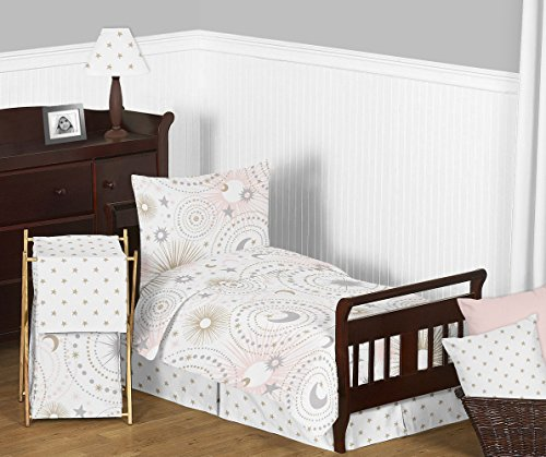Sweet Jojo Designs 5-Piece Blush Pink, Gold, Grey and White Star and Moon Celestial Girl Toddler Kid Childrens Bedding Set s Comforter, Sham and Sheets from Sweet Jojo Designs