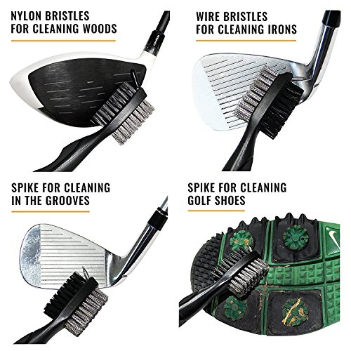 Ace Golf Brush and Club Groove Cleaner Set with Divot Tool, Ball Marker,  Groove Sharpener, 2 Feet Retractable Zip-line Aluminum Carabiner, Attaches