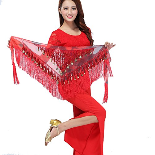 ZLTdream Belly Dance Tassels Triangle Hip Scarf With Coins Sequins Red