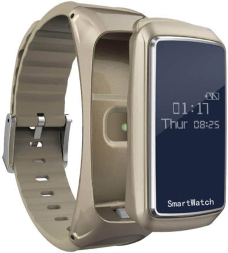 UKCOCO Pulsera Reloj Inteligente, 2 en 1 Auricular Bluetooth Presión Arterial de oxígeno del Monitor de Ritmo cardíaco Podómetro Pulseras Inteligentes para el teléfono Inteligente Android iOS (Aire)