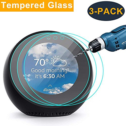 CAVN 3-Pack Compatible Amazon Echo Spot Screen Protector Tempered Glass, Full Coverage High Definition Screen Cover Saver Guard Compatible Echo Spot
