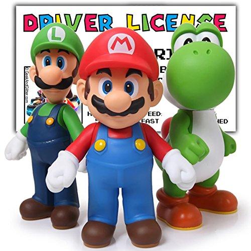 Geek & Glitter 4 Piece Set - Super Mario Bros - Mario, Luigi, Yoshi & Driver's License | PVC 4.7
