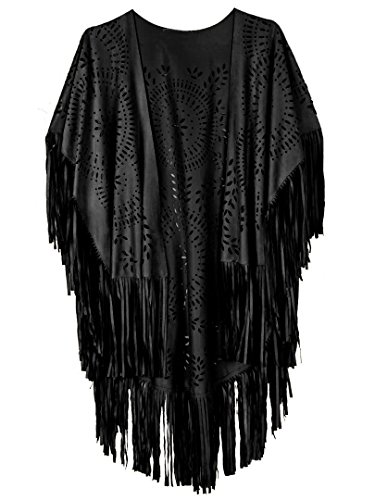 CHOiES record your inspired fashion Women's Suedette Cut Out Asymmetric Fringed Cape Kimono Blouse with Tassel (Blu Top Peasant)