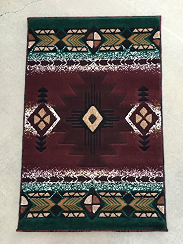 (Concord Global Trading Southwest Native American Tribal Area Rug Burgundy Design C318 (3ftx4ft.7in.))