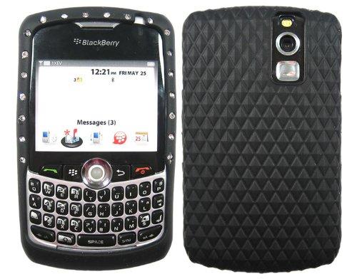 Bling Rhinestone Diamond Skin Case Cover Silicone Black for Blackberry Curve 1 8310 8320 (Silicone Skin Cover Curve)
