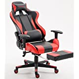 ViscoLogic® SpeedX Ergonomic Gaming Chair for PC Video Game Computer Chair Racing Chairs with Footrest (Red n Black)