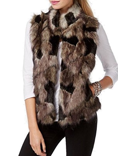 INC International Concepts Black Multi Patchwork Faux-Fur Vest L (Inc Concepts Clothing compare prices)