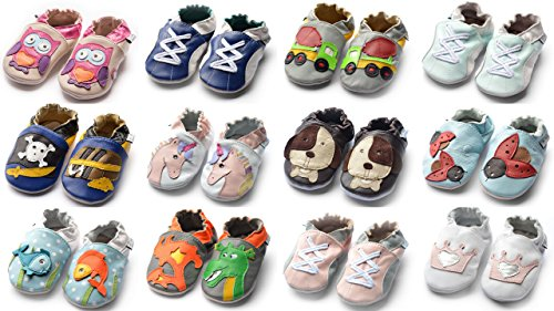 Jinwood designed by amsomo - Patucos de Piel para niña cement truck grey mini shoes