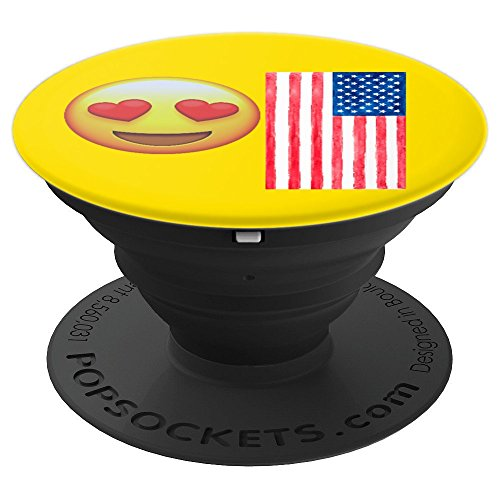 Emojicon Heart Love American Flag Phone Holder Grip - PopSockets Grip and Stand for Phones and Tablets -