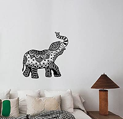 Indian Elephant Wall Art Decal Arabic Vinyl Sticker Ornament Pattern Decorations for Home Yoga Studio Dorm Room Animal Decor ie10
