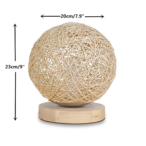 BOKT Minimalist Novelty Romantic Solid Wood Table Lamp for Bedroom Bedside Desk Lamp Home Decor Rattan Ball Lampshade (Beige) by BOKT (Image #4)