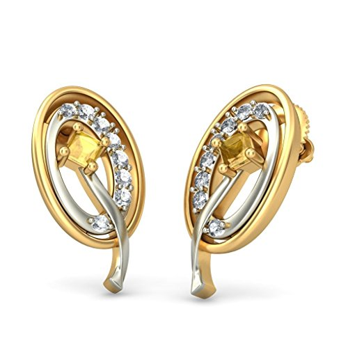 14 K Or jaune 0,14 CT TW White-diamond (IJ | SI) et citrine Boucles d'oreille à tige