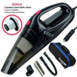 iBoost Handheld Portable Car Vacuum with Accessories, Storage Bag, and 2 Stainless Steel HEPA Filters