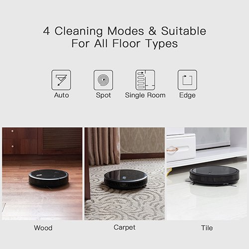 Robotic Powerful Vacuum with 4 Cleaning Customizable Cleaning Anti-Collision & Protection, Auto for Floors