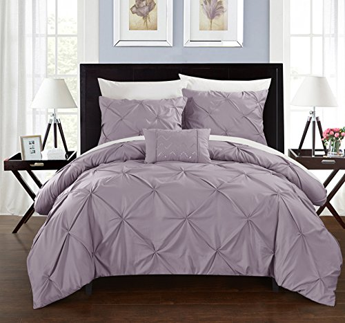 ce Duvet Cover Set Ruffled Pinch Pleat Design Embellished Zipper Closure Bedding, King, Lavender ()