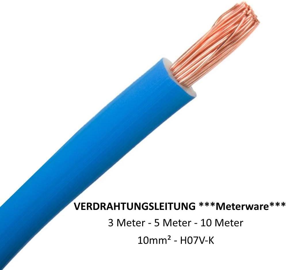 blau Verdrahtungsleitung Meterware H07V-K 10mm/² Gr/ö/ße: 3 Meter flexibel Einzelader
