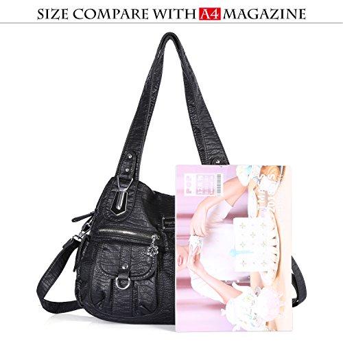 Street Pockets Multiple Hobo 3105 Handbag Ladies' Tote Satchel 1 Shoulder Handle Women Roomy PU Fashion black Bag Top Bag Bag A1wXY