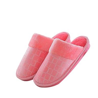 37cc60f3a6f2 Amazon.com: DIBAO Winter Slippers for Men Women Fleece Lined Anti ...