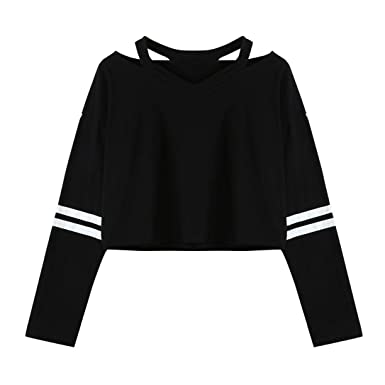 3afad69b2cd6 Fanteecy Womens Casual Simple Style Crop Top Long Sleeve V Neck Cute Blouse  Sweatshirts (S