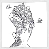 iPrint Polyester Bandana Headband Scarves Headwrap,Girls,Young Girl with Tattoos and Butterflies Free Your Soul Inspired Long Hair Feminine,Purple White,for Women Men