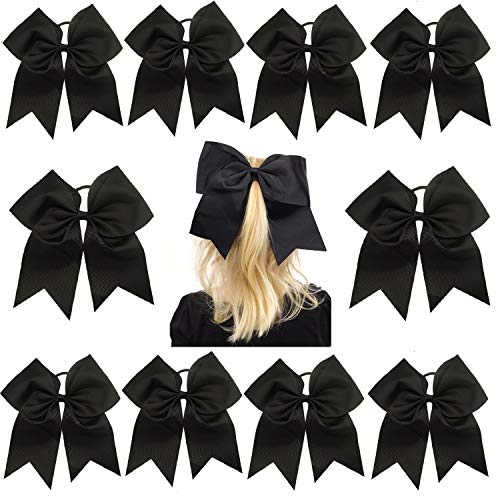 ig Hair Bows with Ponytail Holder Large Classic Accessories for Teens Women Girls Softball Cheerleader Sports Elastics Ties Handmade by Kenz Laurenz (10 pack 7