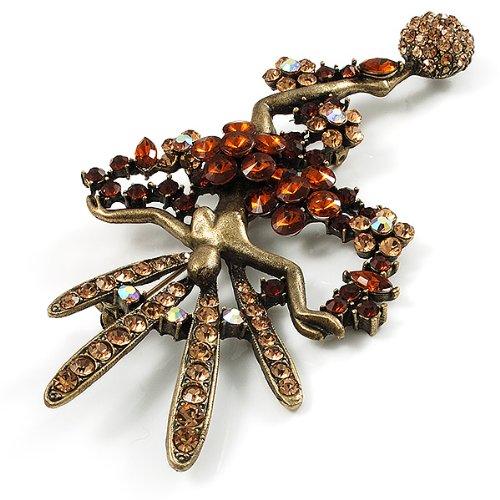 Enorme Broche Cristal Danseuse Brésilienne de Carnaval de Carnaval (Bronze & Ambre)