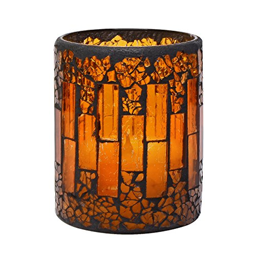 GiveU Pumpkin Mosaic Flameless Pillar Led Candle with Timer, 3 x 4
