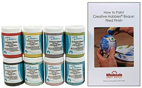 Duncan INKIT-2 Envision Sprinkles Glaze Kit for Ceramics - Set of 8 Best Selling Colors in 4 Ounce Jars with Free How to Paint Ceramics Booklet